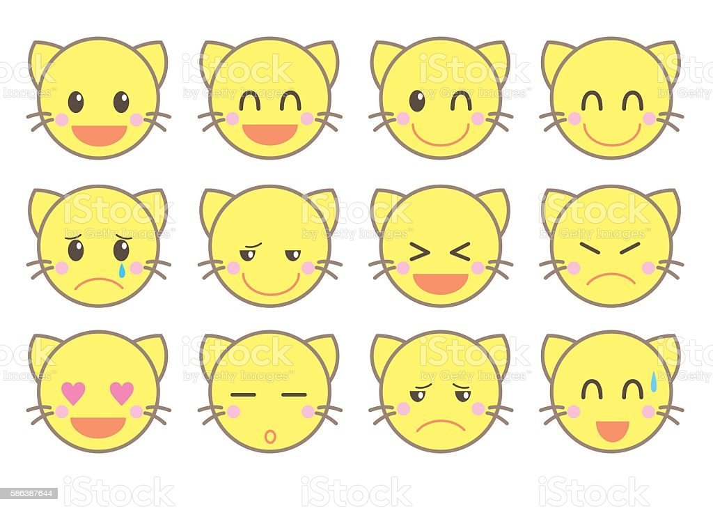 emoji vector icon set / cat version vector art illustration
