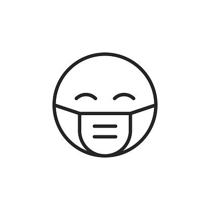 Emoji with Protective Face Mask Line Icon. Editable Stroke. Pixel Perfect. For Mobile and Web.