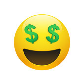 Emoji yellow smiley face with dollar symbol eyes