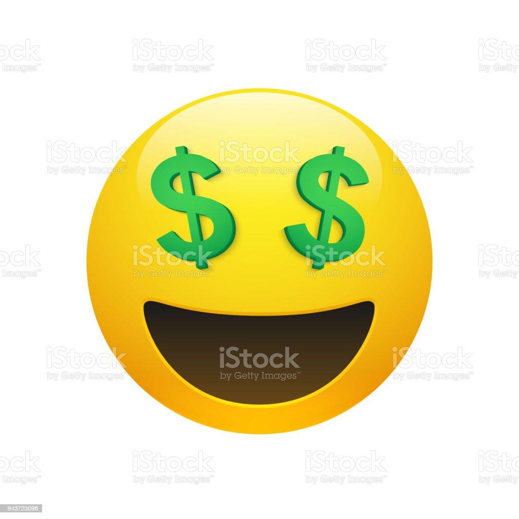 Emoji yellow smiley face with dollar symbol eyes vector art illustration
