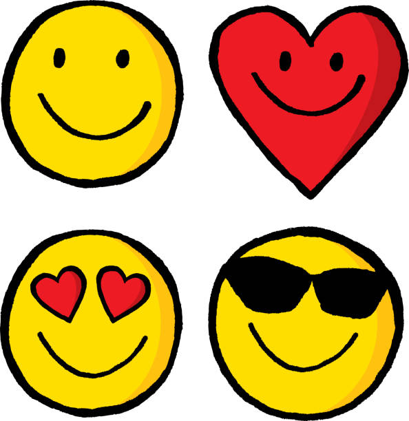 stockillustraties, clipart, cartoons en iconen met emojis hand getrokken - smile