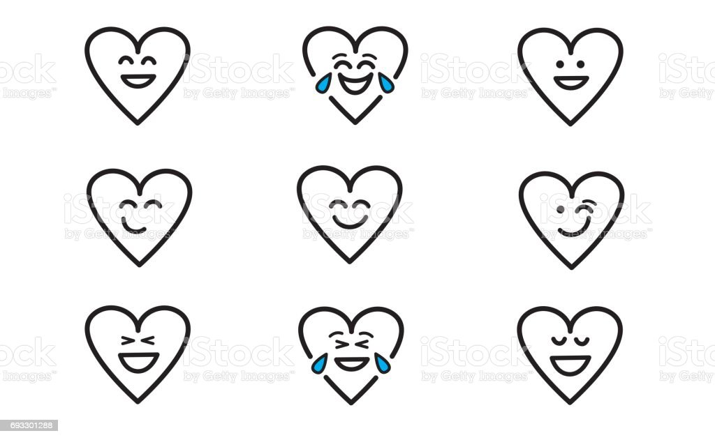Emojis heart 1 vector art illustration