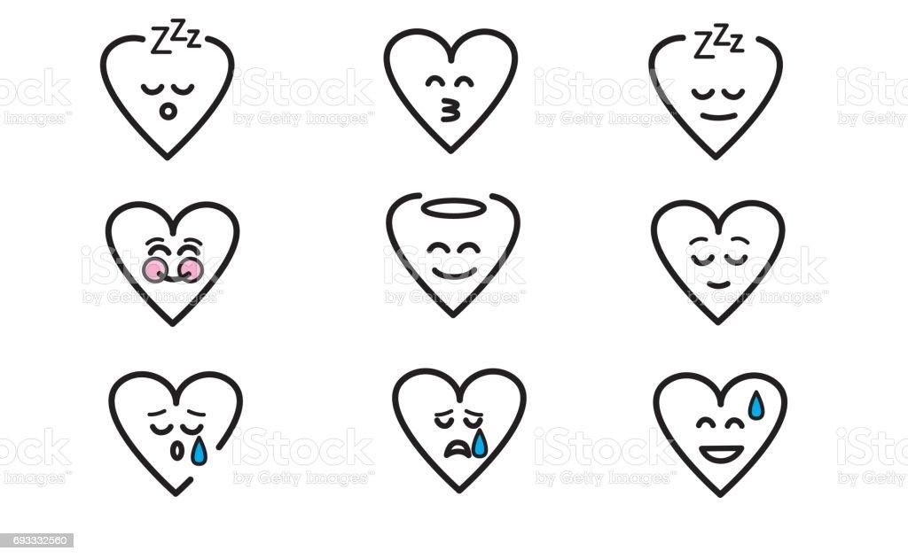 Emojis heart 10 vector art illustration