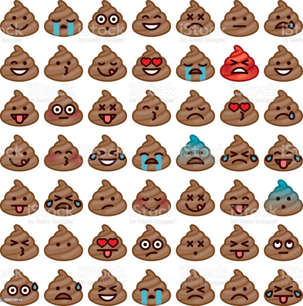 Emojis Icon Set: Poo - Illustration vectorielle