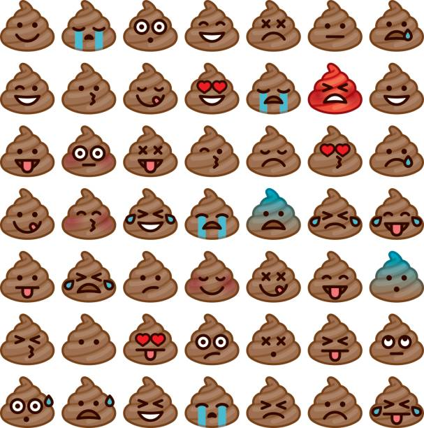 Emojis Icon Set: Poo A set of 'poomojis', or emoji icons made of poo. Emotions include embarrassed, happy, in love, sad, angry, crying, and so forth. AI10 EPS file built in CMYK. Some simple transparency effects used to create the blushing effects. feces stock illustrations