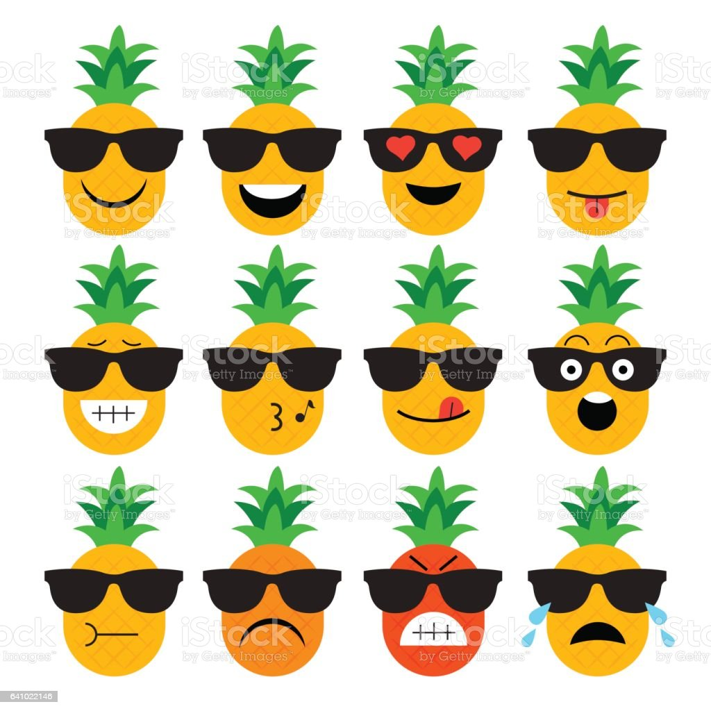emojis. pineapple. fruit. summer. Set of emotional  face on a white background. Flat vector emoticons. Set vector smiley. Characters smiley vector art illustration