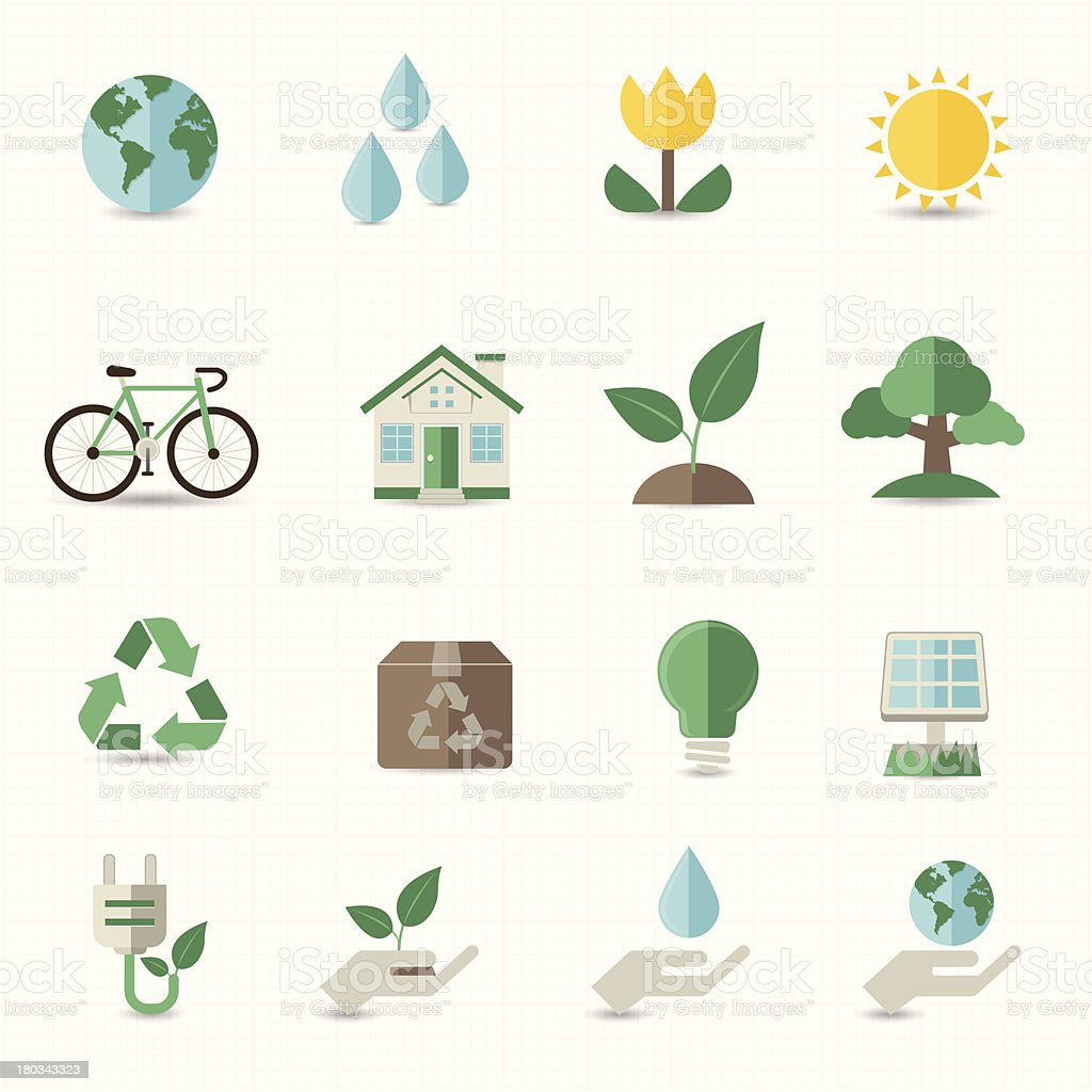 Emojis representing green energy vector art illustration