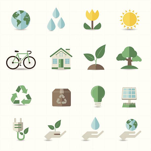 emojis representing green energy - flat design icons stock illustrations, clip art, cartoons, & icons