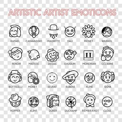 Emoticon artistic artist vector emoji Smile icon set for web