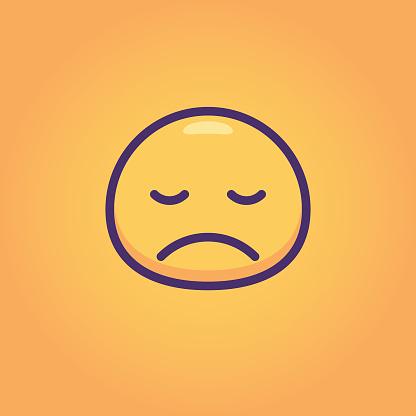 Emoticon bubble shape orange background