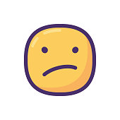 Vector illustration of a cute and chubby emoticon, perfecto for online messaging, mobile apps, social media platforms and all kinds of designs projects, technology and business ideas and concepts.