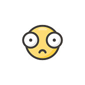 Vector illustration of a cute emoticon with big eyes, flat colors and minimalistic style. Design element perfect for social media, online messaging, mobile apps, business and technology, Internet concepts and ideas, Internet dating, communication, human emoticons and international connections.