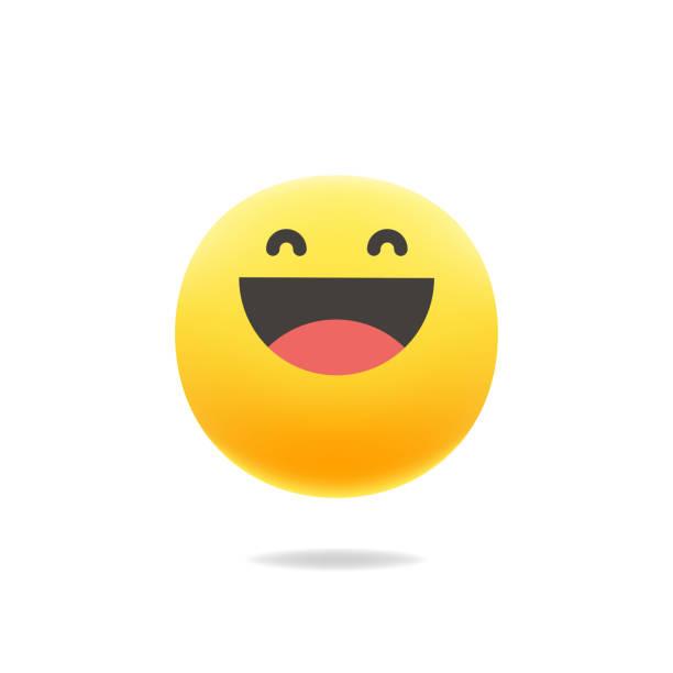 ilustraciones, imágenes clip art, dibujos animados e iconos de stock de emoticon color lindo sombra realista - lágrimas de emoji alegre