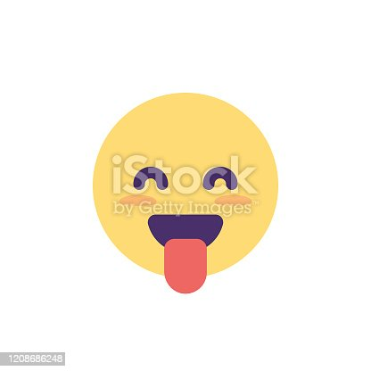 Vector illustration of a cute and colorful emoticon with cute facial features. Design element for social media platforms, online messaging, mobile apps, Internet and technology, business, presentations and marketing, user interface designs, global communications, Internet dating, lifestyles and ideas and concepts about human emotions, positive and negative.