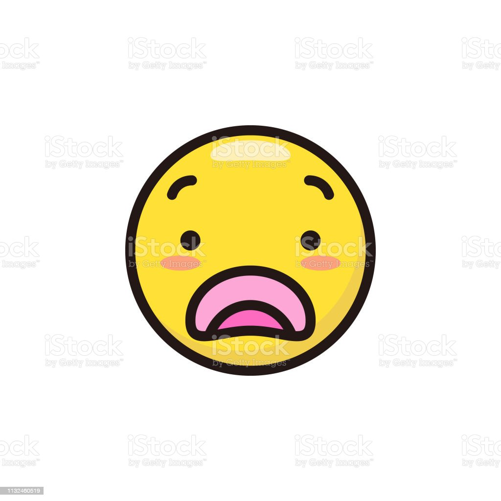 Vector illustration of a cute emoticon in flat colors design and thin...