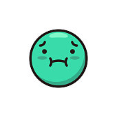 Vector illustration of a cute emoticon in flat colors design and thin line art.