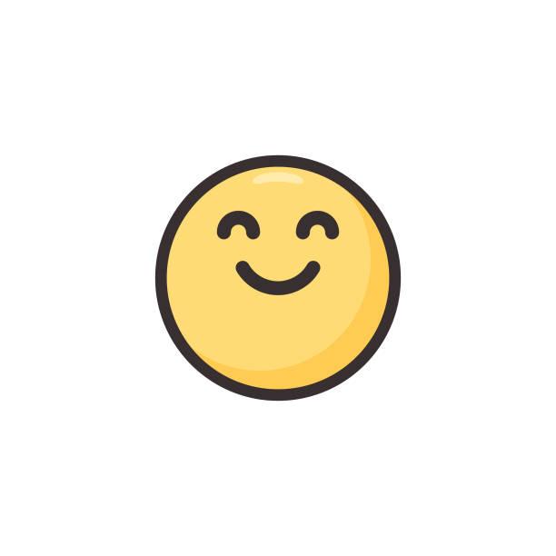 emoticon niedliche linie kunst und flache farbe - freude stock-grafiken, -clipart, -cartoons und -symbole