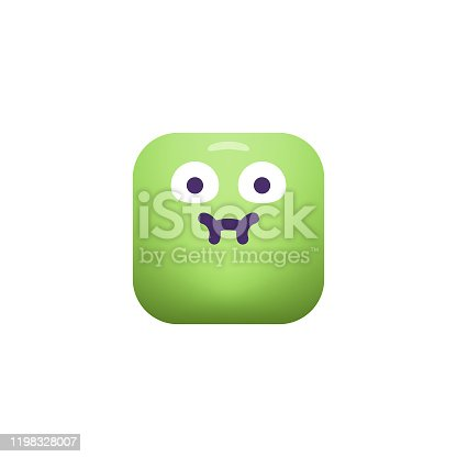 Vector illustration of a cute and cube shaped emoticon, with realistic color gradients and minimalistic elements. Design element great for social media platforms, online messaging and mobile apps, business and technology, Internet and global communications, teamwork, meetings, brainstorming, Internet dating apps and design projects in general, as well as ideas and concepts about emotions and human facial expressions.