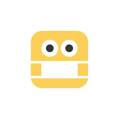 Emoticon design cute cube shape