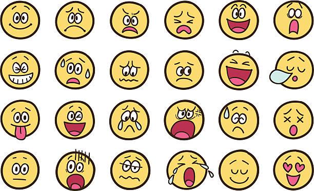 ilustraciones, imágenes clip art, dibujos animados e iconos de stock de emoticono garabatos - lágrimas de emoji alegre