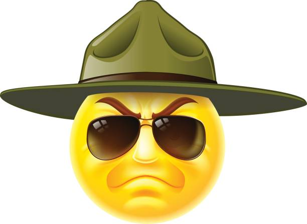 Emoticon Drill Sergeant A cartoon emoticon army boot camp drill sergeant wearing sunglasses sergeant stock illustrations