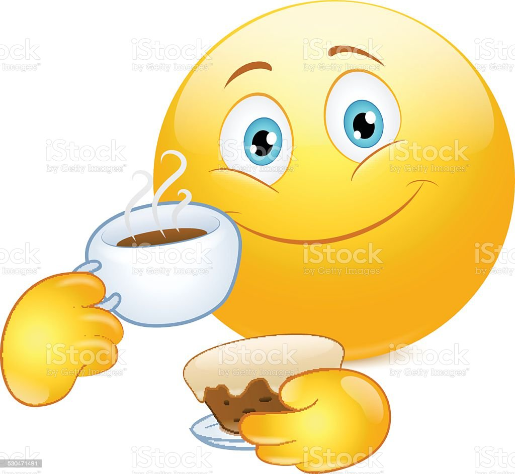 emoticon drinking coffee with cake stock vector art more images of rh istockphoto com Winking Smiley Face Clip Art Thinking Smiley Face Clip Art