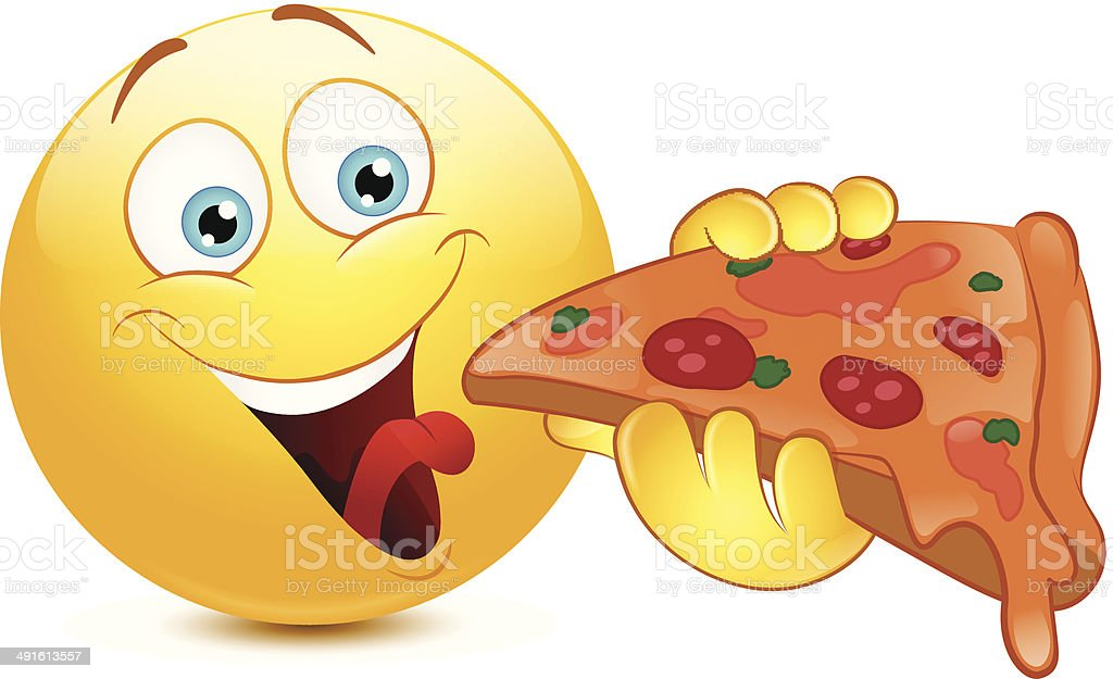 emoticon eating pizza stock vector art more images of adult 491613557 istock. Black Bedroom Furniture Sets. Home Design Ideas
