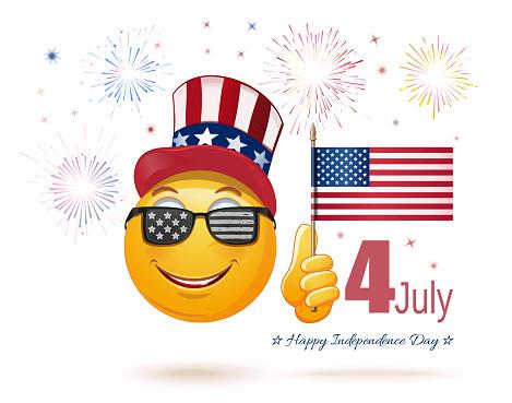 Emoticon Face In Uncle Sams Hat And The Us Flag — стоковая векторная графика и другие изображения на тему Uncle Sam