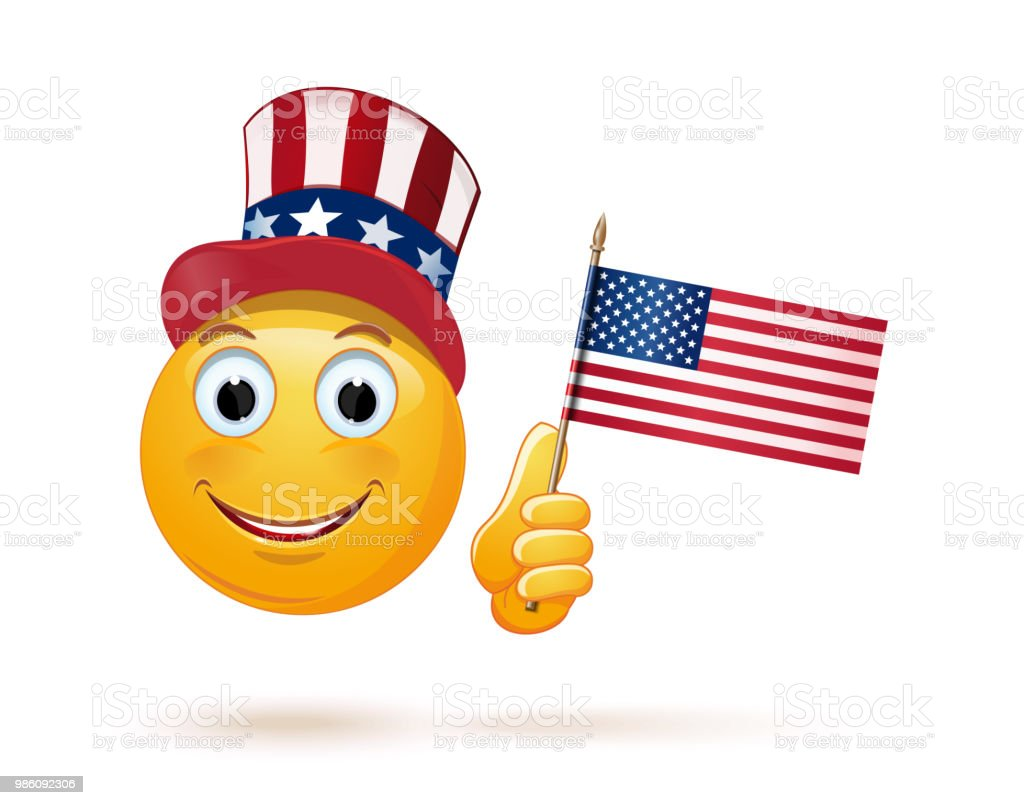 Emoticon face in Uncle Sams hat and the US flag - Векторная графика Uncle Sam роялти-фри