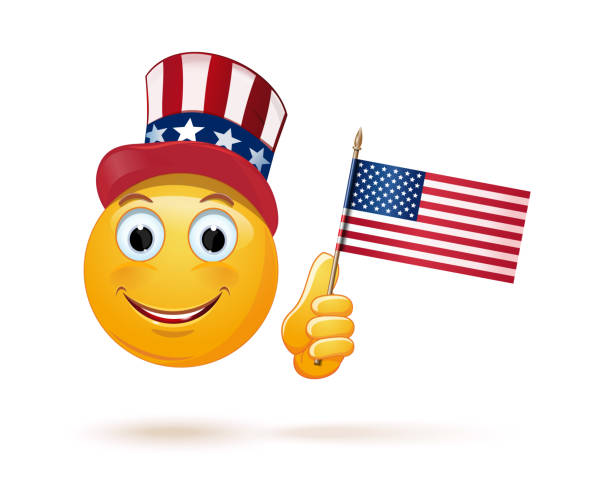 emoticon face in uncle sams hat and the us flag - family 4th of july stock illustrations