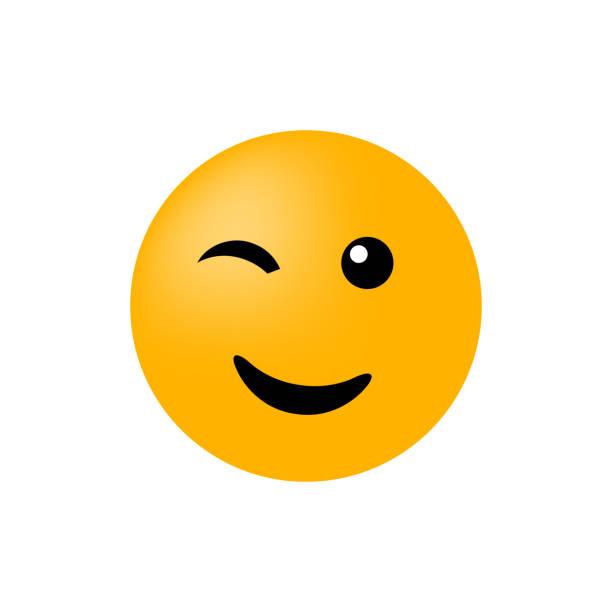 illustrazioni stock, clip art, cartoni animati e icone di tendenza di emoticon face isolated on white background - fare l'occhiolino