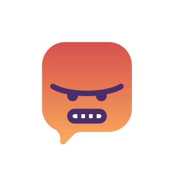 illustrazioni stock, clip art, cartoni animati e icone di tendenza di emoticon on speech tought bubble icon design - furioso