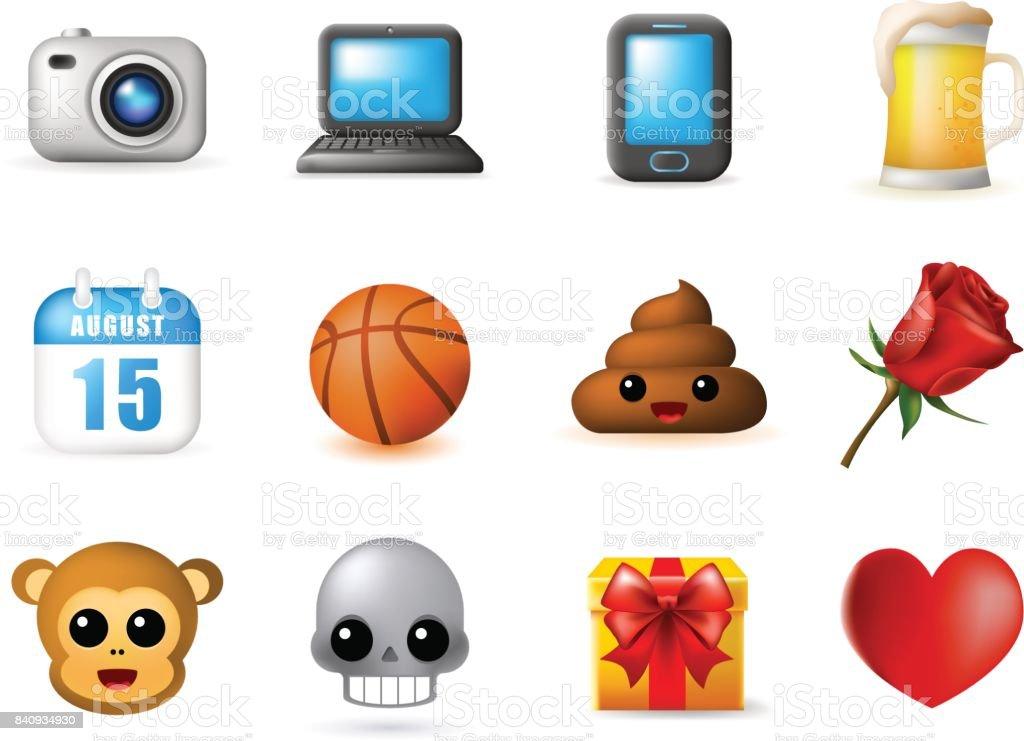 12 emoticon sur fond blanc - Illustration vectorielle