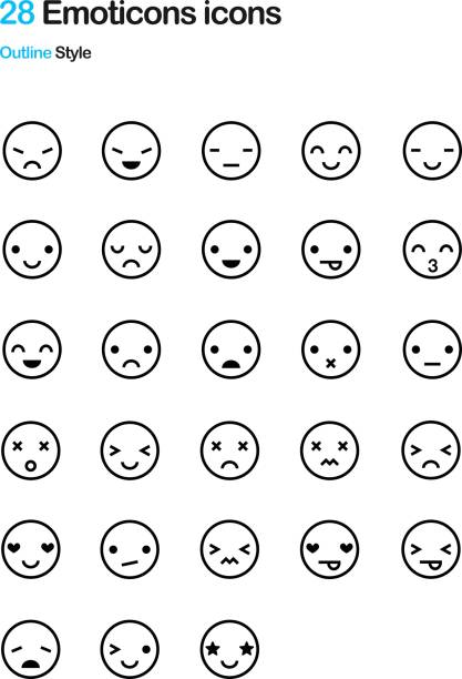 emoticon outline icon pack - kiss stock illustrations