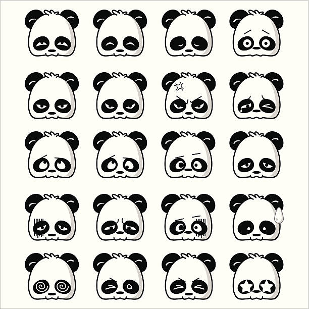 Emoticon Panda vector art illustration