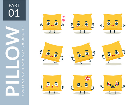 emoticon set of Yellow Pillow. First set. Vector Illustration