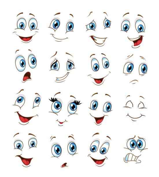 illustrazioni stock, clip art, cartoni animati e icone di tendenza di emoticon set . smiling emoji set vector illustration - lingua umana