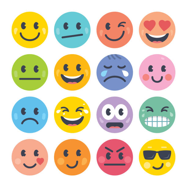emoticon set - tears of joy emoji stock illustrations
