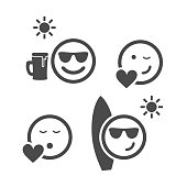 Set of Black and White Smiley Icons Isolated on White - Design Template Clip-art Illustration in Editable Vector Format