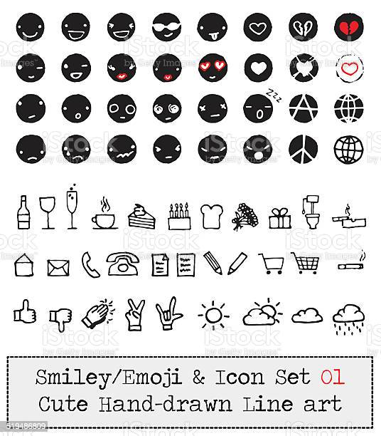 Emoticon Smiley Icon Set Cute Hand Drawn Line Art Stock Illustration - Download Image Now