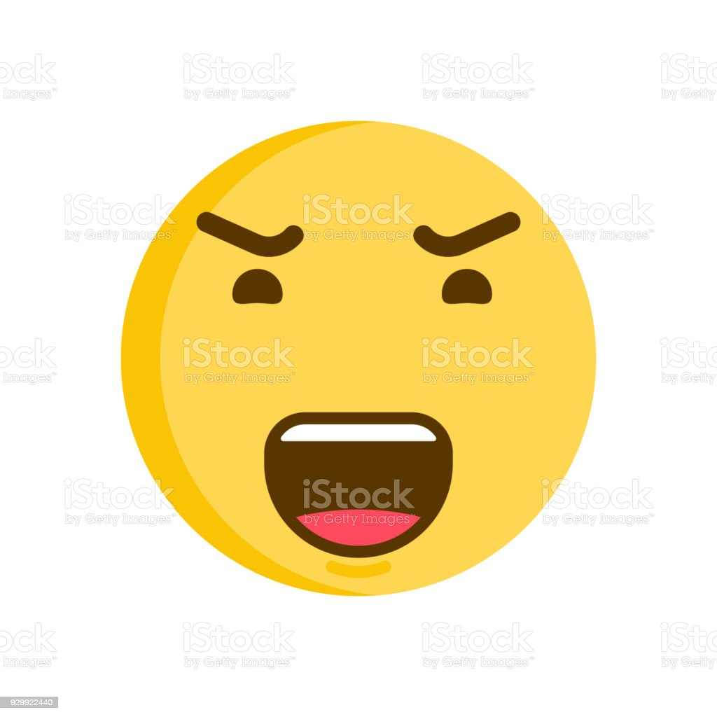 Emoticon smiley with a angry face. Vector emoji icon vector art illustration