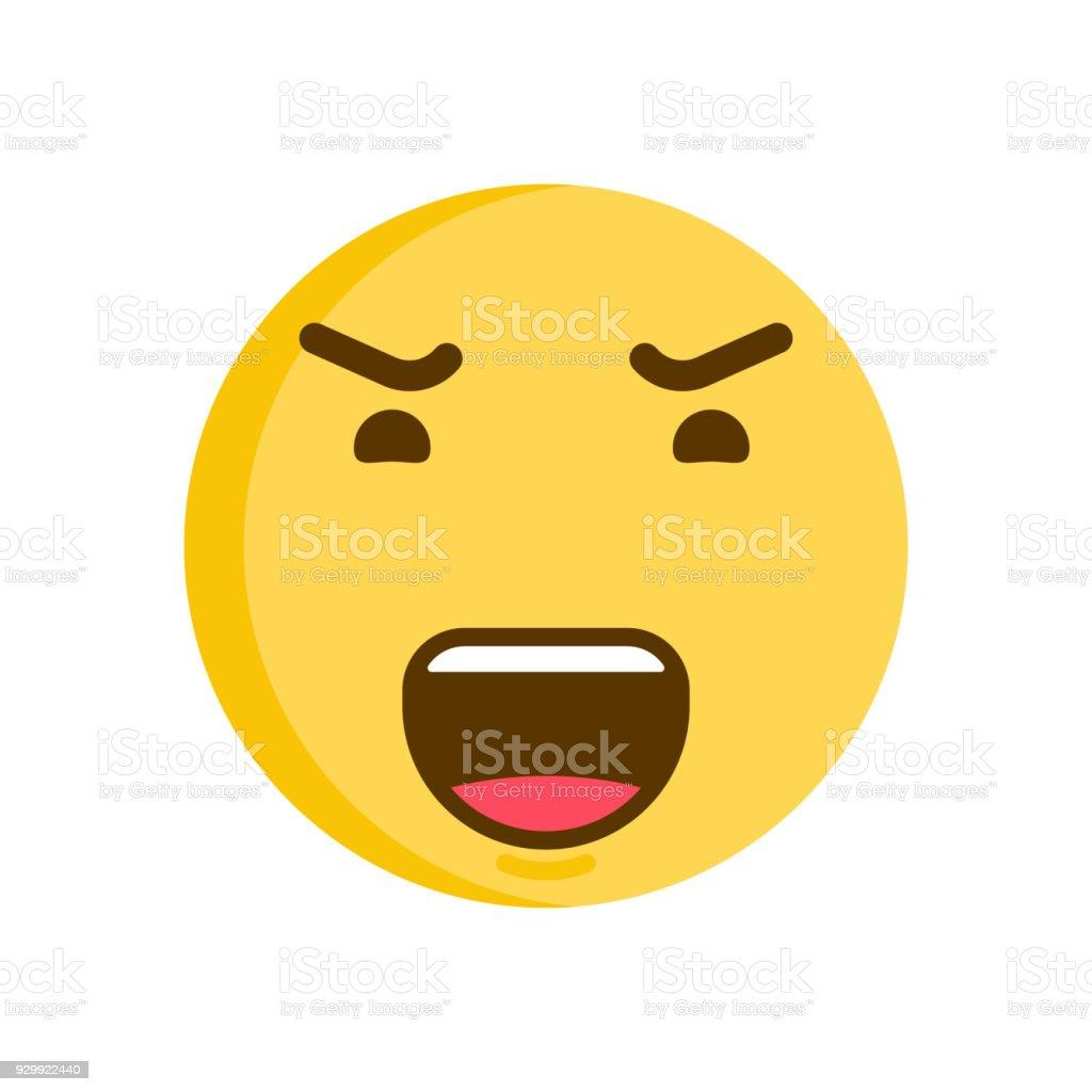 怒った顔の絵文字のスマイリー。ベクトル絵文字アイコン ベクターアートイラスト
