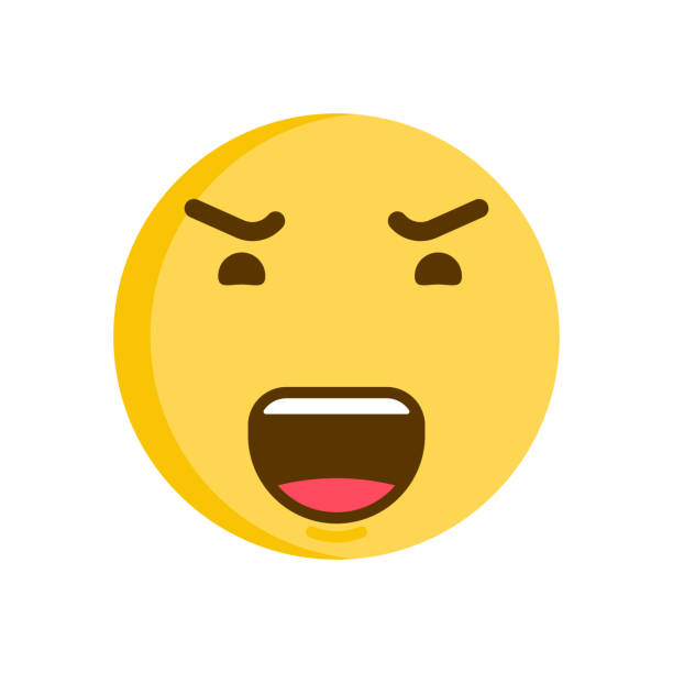 emoticon smiley with a angry face. vector emoji icon - jealous emoji stock illustrations, clip art, cartoons, & icons