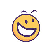 Vector illustration of a cute and colorful emoticons smiling and having fun. Perfect for social media platforms, designs projects, online messaging and mobile apps, as well as business, technology and marketing ideas and concepts.