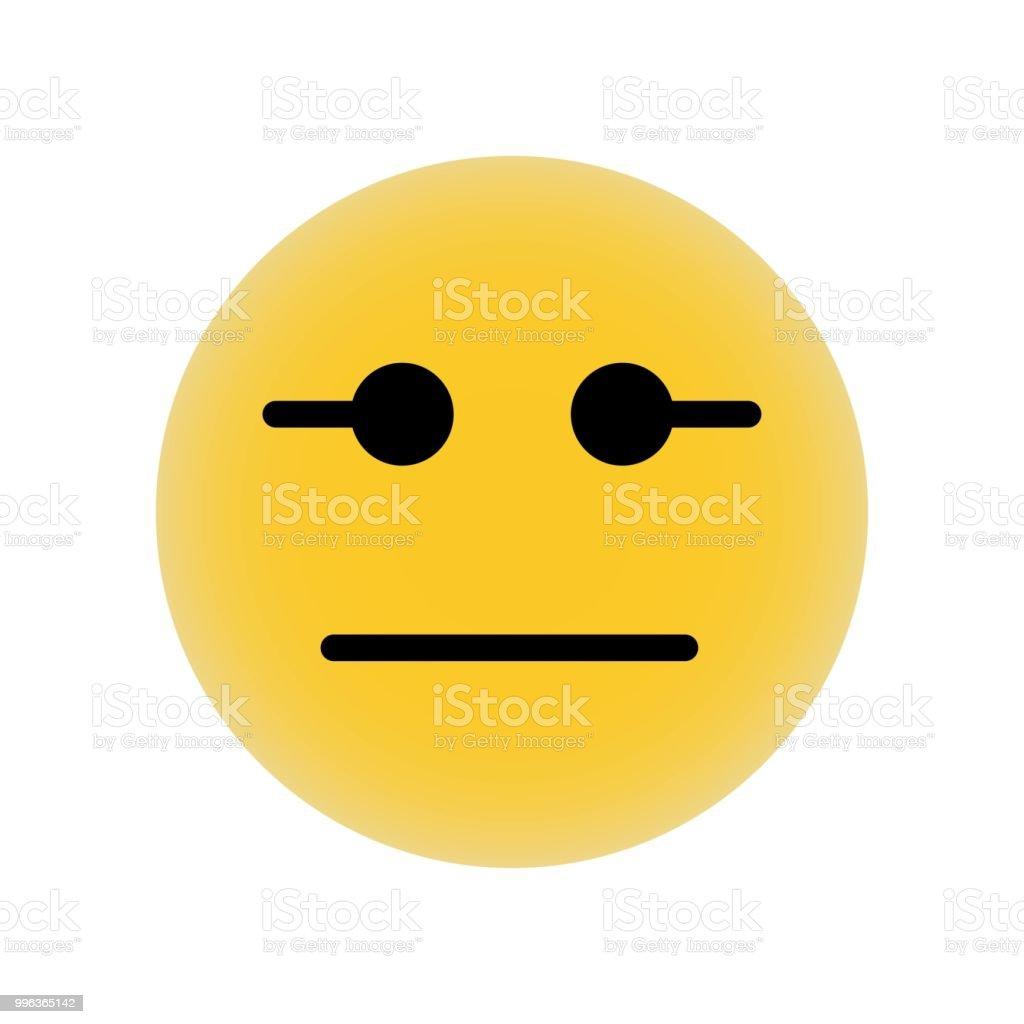 Emoticon Quadratisches Gesicht Mit Geraden Mund Und Augen Linien ...