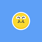 Vector illustration of a cute emoticon sticker with a blue background. Cut out design element for social media platforms, online messaging, Internet dating and human emotions depictions. Great also for ideas and concepts about businesses, technology, Internet, user interfaces, lifestyles, marketing, presentations and teamwork.