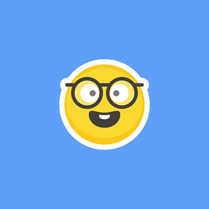 Emoticon sticker blue background