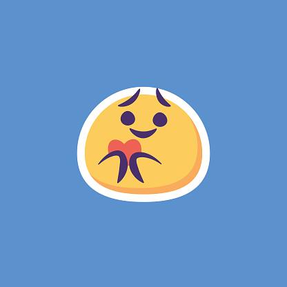 Emoticon sticker design blue background