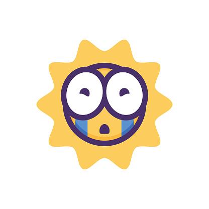 Emoticon sun with big eyes