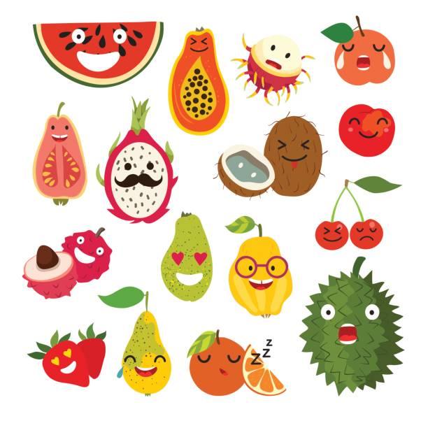 ilustrações, clipart, desenhos animados e ícones de fruta de desenho de vetor emoticon - fruit salad